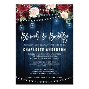Burgundy Navy Floral String Light Brunch & Bubbly Invitation starting at 2.40