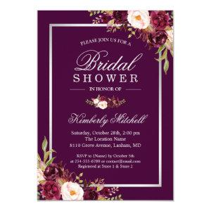 Burgundy Plum Purple Flowers Autumn Bridal Shower Invitation starting at 2.40