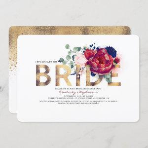 Burgundy Red and Navy Blue Floral Bridal Shower Invitation starting at 2.60