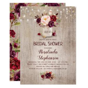 Burgundy Red Floral Mason Jar Rustic Bridal Shower Invitation starting at 2.15
