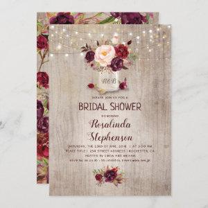 Burgundy Red Floral Mason Jar Rustic Bridal Shower Invitation starting at 2.40