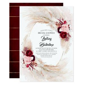Burgundy Red Floral Pampas Grass Bridal Shower Invitation starting at 2.51
