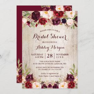 Burgundy Red Floral Rustic County Bridal Shower Invitation starting at 2.35