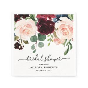 Burgundy Red Navy Blush Floral Bridal Shower paper Napkins starting at 39.00