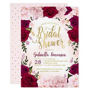 Burgundy Red Wine Pink Roses Bridal Shower Invitation starting at 2.40