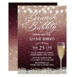Burgundy & Rose Gold Ombre Modern Bridal Brunch Invitation starting at 2.45