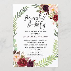 Burgundy Wreath Brunch and Bubbly Bridal Shower Invitation starting at 2.55