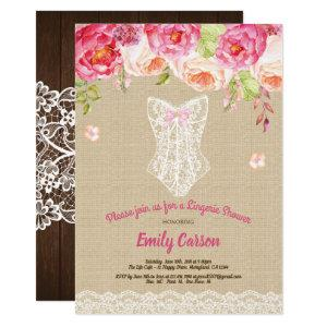 Burlap and lace pink lingerie shower bridal party invitation starting at 2.25