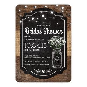 Burlap Baby Breath Wooden Wedding Bridal Shower Invitation starting at 2.60