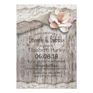 Burlap Lace Floral Brunch and Bubbly Bridal Shower Invitation starting at 2.40