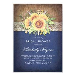 Burlap Lace Sunflower Navy Rustic Bridal Shower Invitation starting at 2.35