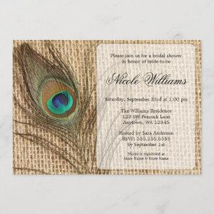 Burlap Peacock Feather Bridal Shower Invitations starting at 2.51