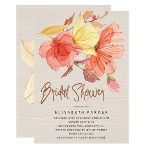 Burnt orange fall watercolor floral bridal shower invitation starting at 2.55