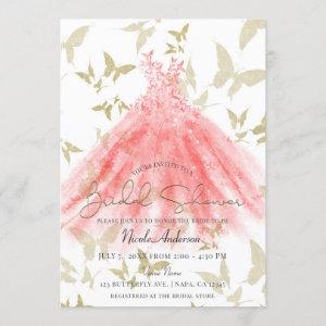 Butterfly Dance Coral Dress Gold Bridal Shower Invitation starting at 2.70