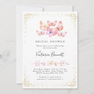 Butterfly Skies Coral Gold Confetti Bridal Shower Invitation starting at 2.51