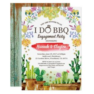 Cactus I do BBQ party invitation - rustic wood starting at 2.25