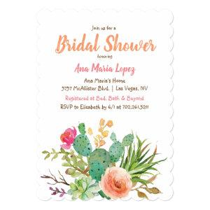 Cactus Succulent Floral Bridal Shower Invitation starting at 2.86