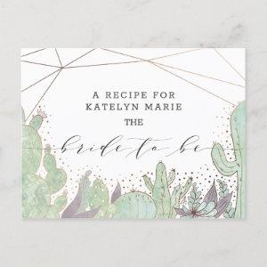 Cactus & Succulents Trendy Bride to Be Recipe Card starting at 1.80