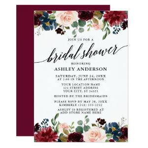 Calligraphy Burgundy Blue Floral Bridal Shower Invitation starting at 2.51