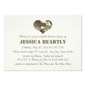 Camouflage Camo Heart Bridal Shower Invitations starting at 2.66