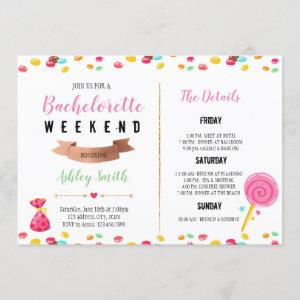 Candy bachelorette Itinerary invitation starting at 2.50