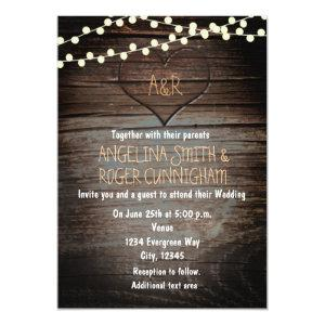 Carved Heart in Wood & String Lights Wedding Invitation starting at 2.66