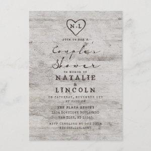 Carved Sweethearts Rustic Couple's Wedding Shower Invitation starting at 2.20