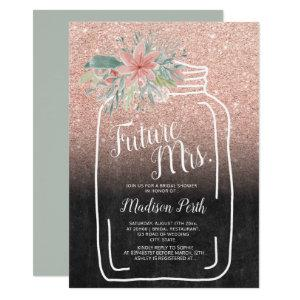 Chalk floral mason jar glitter bridal shower invitation starting at 2.40