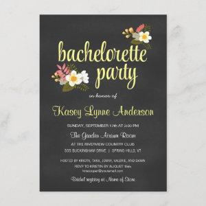 Chalkboard Floral Bachelorette Party Invitations starting at 2.42