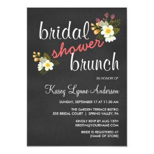 Chalkboard Floral Bridal Shower Brunch Invites starting at 2.42