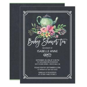 Chalkboard Floral Tea Party Neutral Baby Shower Invitation starting at 2.40