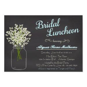 Chalkboard Mason Jar Baby's Breath Bridal Luncheon Invitation starting at 2.10