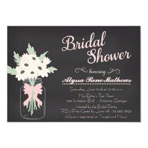 Chalkboard Mason Jar Bridal Shower Invitation PINK starting at 2.10