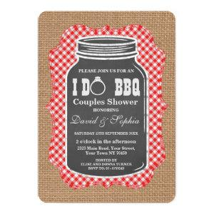 Chalkboard Mason Jar Burlap I DO BBQ Invitation starting at 2.75