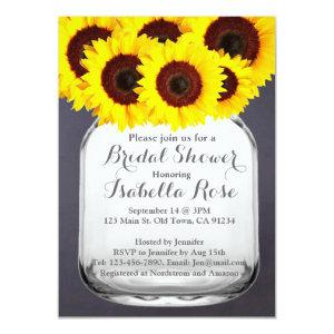 Chalkboard Mason Jar Sunflower Invitations starting at 2.31