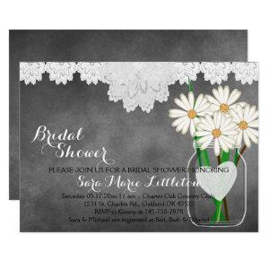 Chalkboard Mason Jar - White Daisies Bridal Shower Invitation starting at 2.40