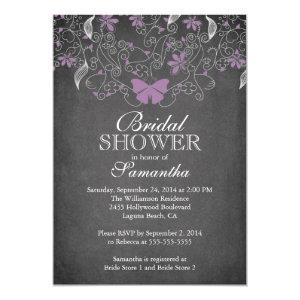 Chalkboard Purple Butterfly Floral Bridal Shower Invitation starting at 2.51