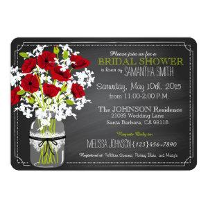 Chalkboard Red Poppies Jar Bridal Shower Invitation starting at 3.02