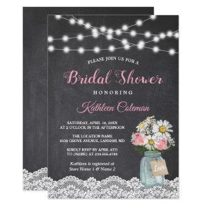 Chalkboard String Lights Floral Jar Bridal Shower Invitation starting at 2.30