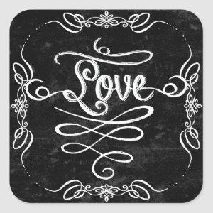 Chalkboard Style Rustic Swirl Couples Shower Card Square Sticker starting at 6.65