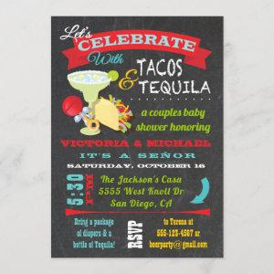 Chalkboard Tacos and Tequila Couples Baby Shower Invitation starting at 2.55
