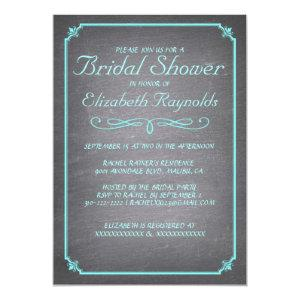 Chalkboard Teal & Silver Bridal Shower Invitations starting at 2.36