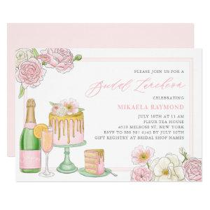 Champagne and Drip Cake Floral Bridal Luncheon Invitation starting at 2.40