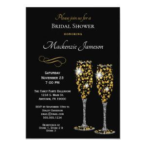 Champagne Black Bridal Shower Invitation starting at 2.66