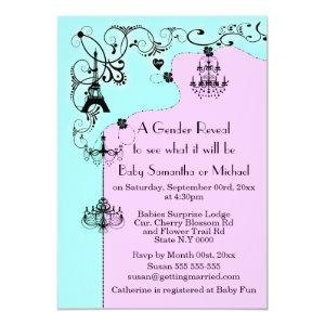 Chandelier whimsical baby reveal Paris Invitation starting at 2.82