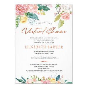 Change plans bridal pink floral virtual shower invitation starting at 2.20