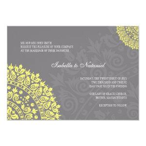Charcoal Gray and Yellow Damask Wedding Invitation starting at 2.61
