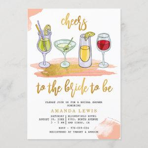 Cheers Gold Script Drinks Blush Bridal Shower starting at 2.40
