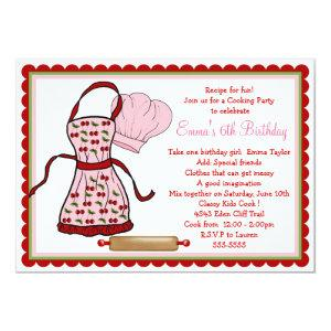 Cherries Apron and Chef Hat Birthday Invitations starting at 2.82