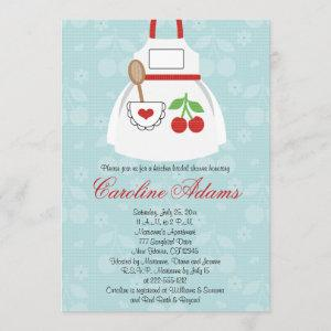 Cherry Apron Bridal Shower Invitation Red and Blue starting at 2.66